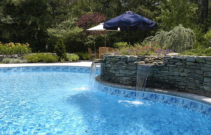 waterfall into pool residential