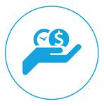 illustration of hand holding time and money