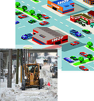 illustration of city with image of snow removal equipment