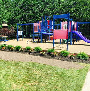 landscaping feature at playground