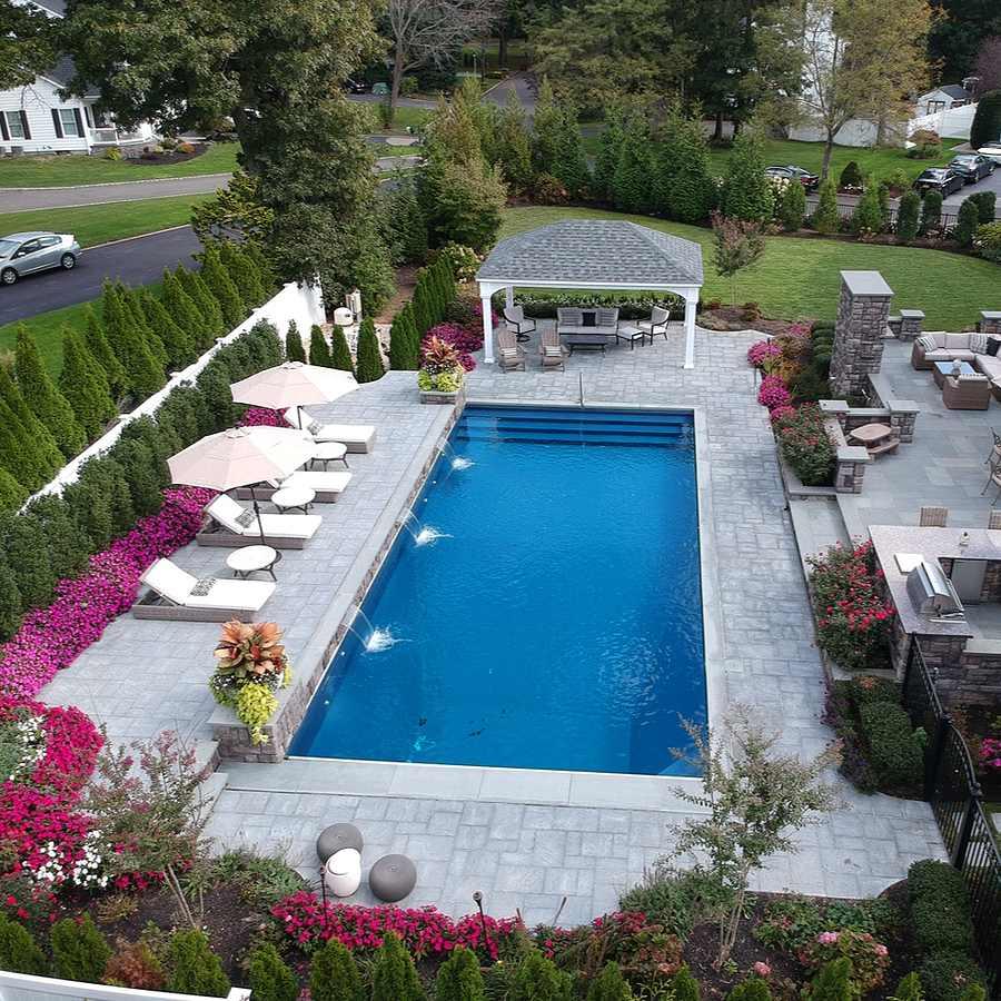 aerial pool view in back yard