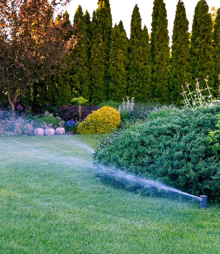 landscaped lawn being watered