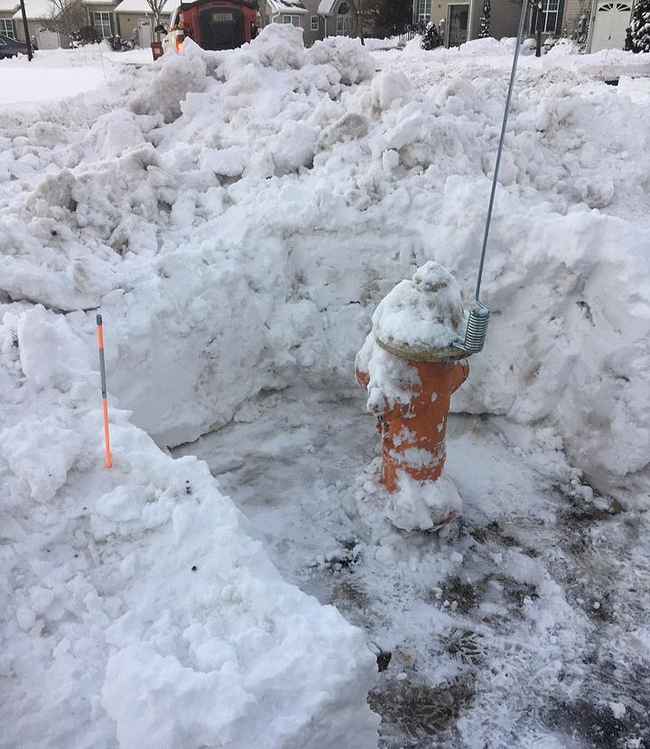 snow clearead fire hydrant