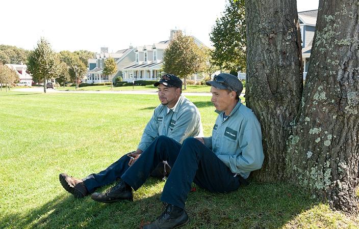 lawn elements team members under tree