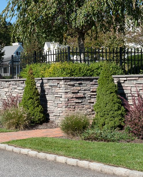 retaining wall and plants