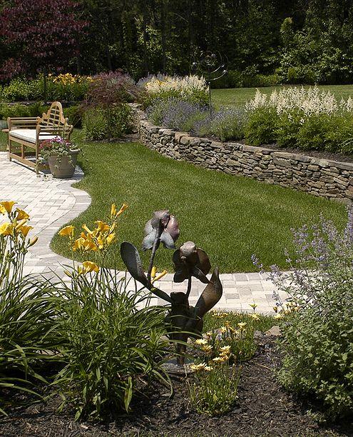 metal flower sculpture in garden
