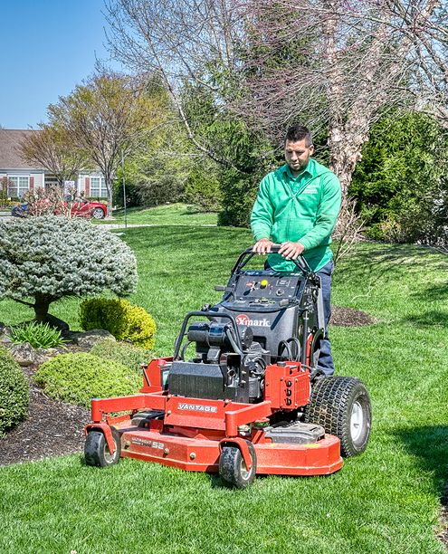 man on standing mower